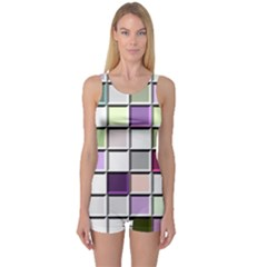 Color Tiles Abstract Mosaic Background One Piece Boyleg Swimsuit