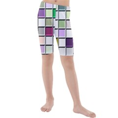 Color Tiles Abstract Mosaic Background Kids  Mid Length Swim Shorts