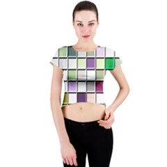 Color Tiles Abstract Mosaic Background Crew Neck Crop Top