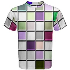Color Tiles Abstract Mosaic Background Men s Cotton Tee