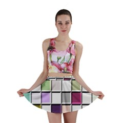 Color Tiles Abstract Mosaic Background Mini Skirt