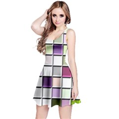 Color Tiles Abstract Mosaic Background Reversible Sleeveless Dress