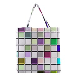 Color Tiles Abstract Mosaic Background Grocery Tote Bag