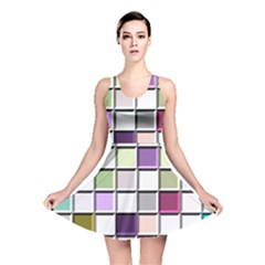 Color Tiles Abstract Mosaic Background Reversible Skater Dress