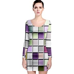 Color Tiles Abstract Mosaic Background Long Sleeve Bodycon Dress