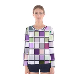 Color Tiles Abstract Mosaic Background Women s Long Sleeve Tee