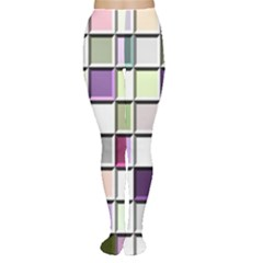 Color Tiles Abstract Mosaic Background Women s Tights