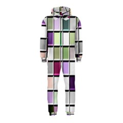 Color Tiles Abstract Mosaic Background Hooded Jumpsuit (Kids)