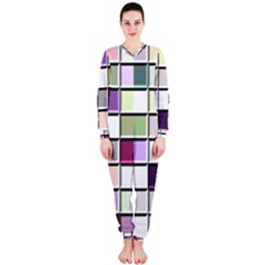 Color Tiles Abstract Mosaic Background Onepiece Jumpsuit (ladies)