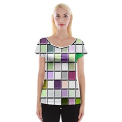 Color Tiles Abstract Mosaic Background Women s Cap Sleeve Top