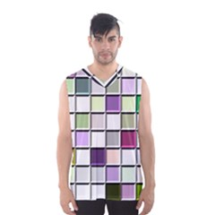 Color Tiles Abstract Mosaic Background Men s Basketball Tank Top