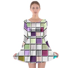 Color Tiles Abstract Mosaic Background Long Sleeve Skater Dress