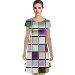 Color Tiles Abstract Mosaic Background Cap Sleeve Nightdress