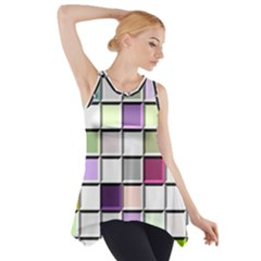 Color Tiles Abstract Mosaic Background Side Drop Tank Tunic