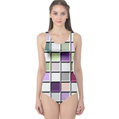 Color Tiles Abstract Mosaic Background One Piece Swimsuit