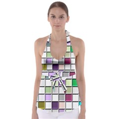 Color Tiles Abstract Mosaic Background Babydoll Tankini Top