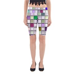 Color Tiles Abstract Mosaic Background Yoga Cropped Leggings