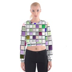 Color Tiles Abstract Mosaic Background Women s Cropped Sweatshirt