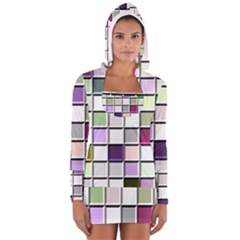 Color Tiles Abstract Mosaic Background Women s Long Sleeve Hooded T-shirt