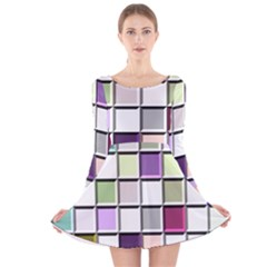 Color Tiles Abstract Mosaic Background Long Sleeve Velvet Skater Dress