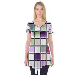 Color Tiles Abstract Mosaic Background Short Sleeve Tunic