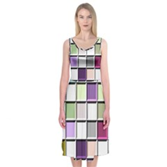 Color Tiles Abstract Mosaic Background Midi Sleeveless Dress