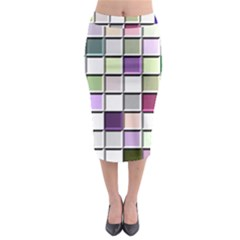 Color Tiles Abstract Mosaic Background Midi Pencil Skirt