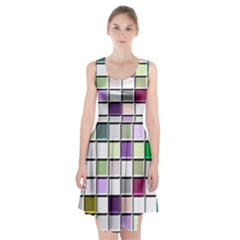 Color Tiles Abstract Mosaic Background Racerback Midi Dress