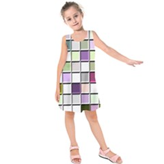 Color Tiles Abstract Mosaic Background Kids  Sleeveless Dress