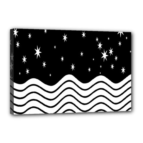 Black And White Waves And Stars Abstract Backdrop Clipart Canvas 18  X 12