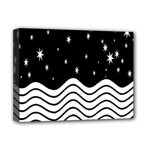 Black And White Waves And Stars Abstract Backdrop Clipart Deluxe Canvas 16  x 12