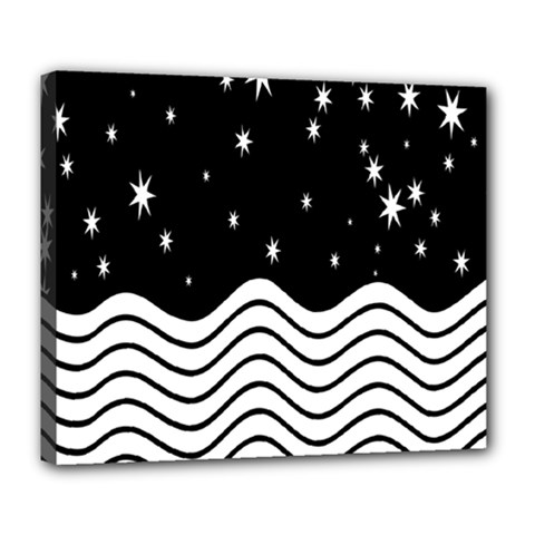 Black And White Waves And Stars Abstract Backdrop Clipart Deluxe Canvas 24  X 20