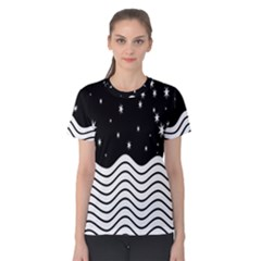 Black And White Waves And Stars Abstract Backdrop Clipart Women s Cotton Tee