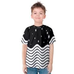 Black And White Waves And Stars Abstract Backdrop Clipart Kids  Cotton Tee