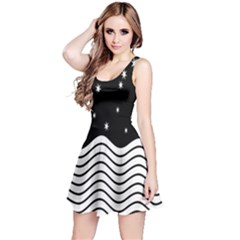 Black And White Waves And Stars Abstract Backdrop Clipart Reversible Sleeveless Dress