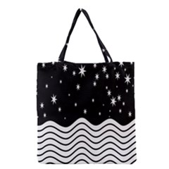 Black And White Waves And Stars Abstract Backdrop Clipart Grocery Tote Bag
