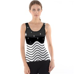 Black And White Waves And Stars Abstract Backdrop Clipart Tank Top