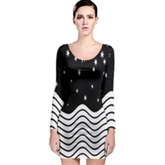 Black And White Waves And Stars Abstract Backdrop Clipart Long Sleeve Bodycon Dress