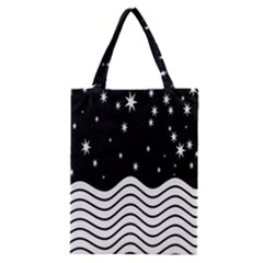 Black And White Waves And Stars Abstract Backdrop Clipart Classic Tote Bag