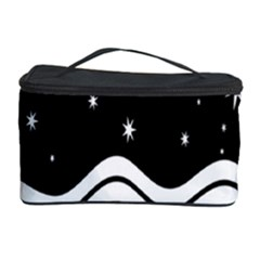 Black And White Waves And Stars Abstract Backdrop Clipart Cosmetic Storage Case