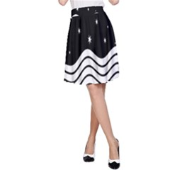 Black And White Waves And Stars Abstract Backdrop Clipart A-Line Skirt