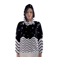 Black And White Waves And Stars Abstract Backdrop Clipart Hooded Wind Breaker (women)