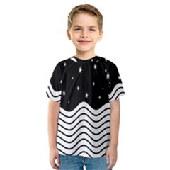 Black And White Waves And Stars Abstract Backdrop Clipart Kids  Sport Mesh Tee