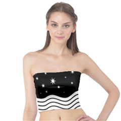 Black And White Waves And Stars Abstract Backdrop Clipart Tube Top