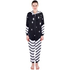 Black And White Waves And Stars Abstract Backdrop Clipart Hooded Jumpsuit (Ladies)