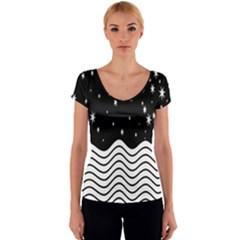 Black And White Waves And Stars Abstract Backdrop Clipart Women s V-Neck Cap Sleeve Top