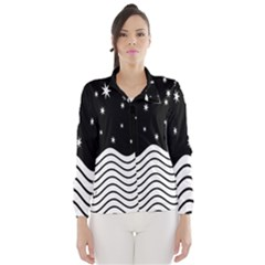 Black And White Waves And Stars Abstract Backdrop Clipart Wind Breaker (women)