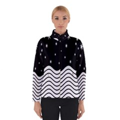 Black And White Waves And Stars Abstract Backdrop Clipart Winterwear
