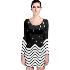 Black And White Waves And Stars Abstract Backdrop Clipart Long Sleeve Velvet Bodycon Dress