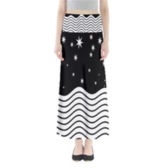 Black And White Waves And Stars Abstract Backdrop Clipart Maxi Skirts